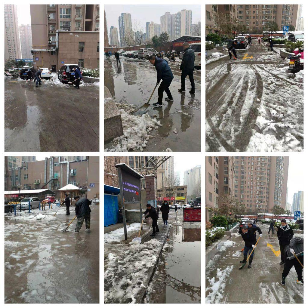 不畏严寒除积雪,河南南浦物业扫雪开路暖人心